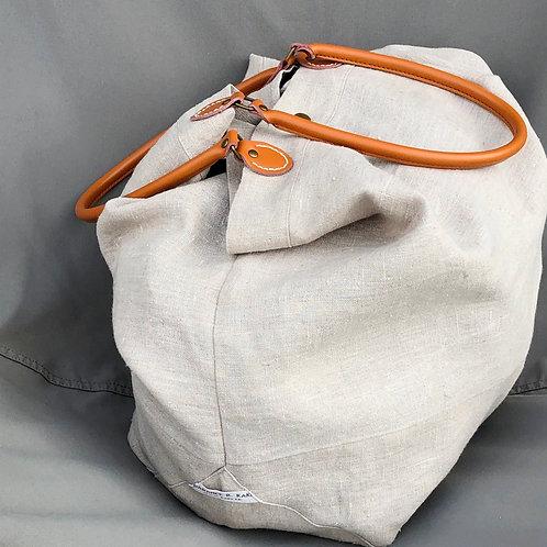 Grand sac en lin naturel lavé, anses aspect cuir naturel. Lavable.