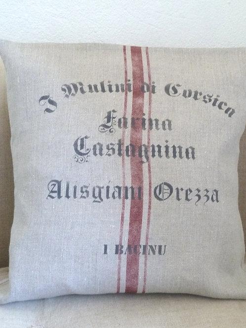 Housse de coussin en lin, les moulins de Corse.