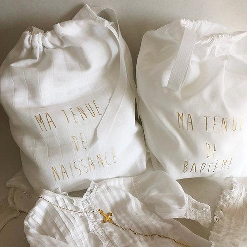 Sachet lin pour tenue de naissance ou tenue de baptême