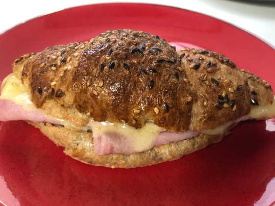 Baked Gruyere & ham brown seeded croissa