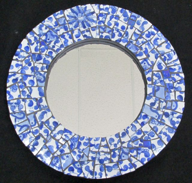 "15"" blue china mirror - sold"