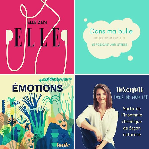 4 logos de podcasts qui font du bien Dansmabulle-relaxation.com