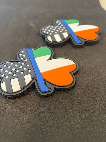 "Irish Blue Line PVC Patches 3.25"" Velcro"