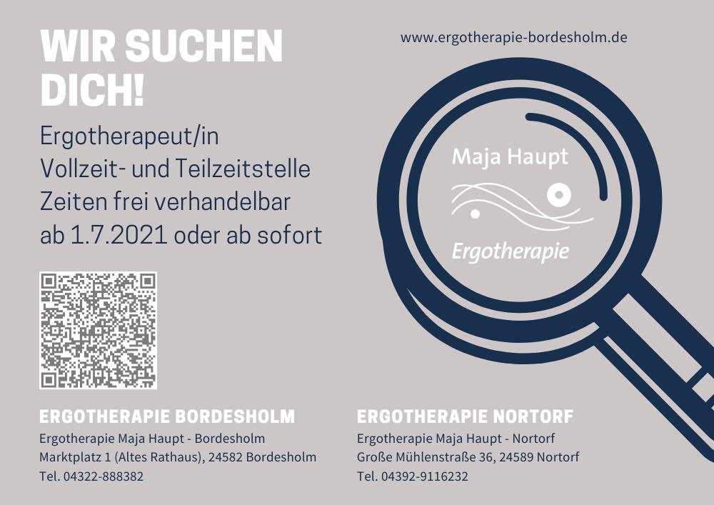 Poster zur Mitarbeitersuche für die Ergotherapie Bordesholm