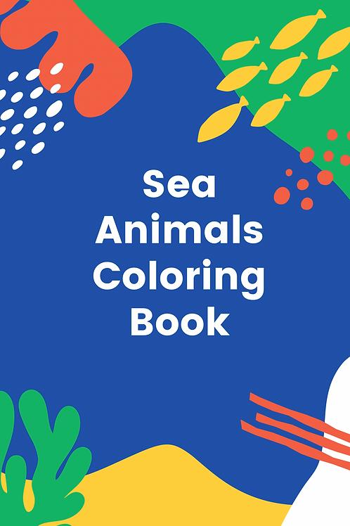 Colorful Sea animals Coloring Book