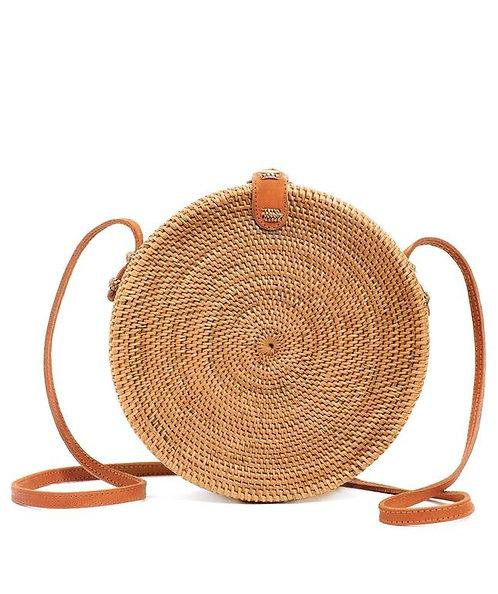 Round Rattan Cross Bag