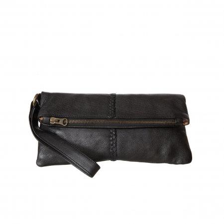 Cadelle | Luna Black Leather Clutch