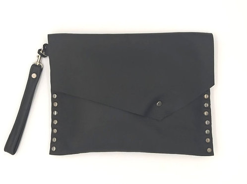 Millan & Co | Black Leather Studded Clutch