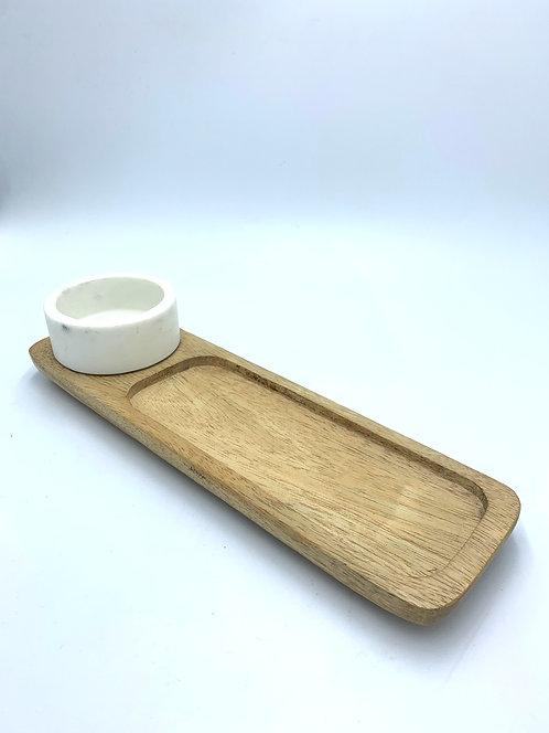 Marble Bowl & Wood Tray