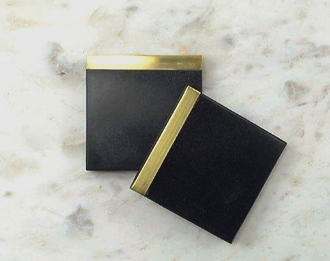 Black Marble Coasters with Brass Edge