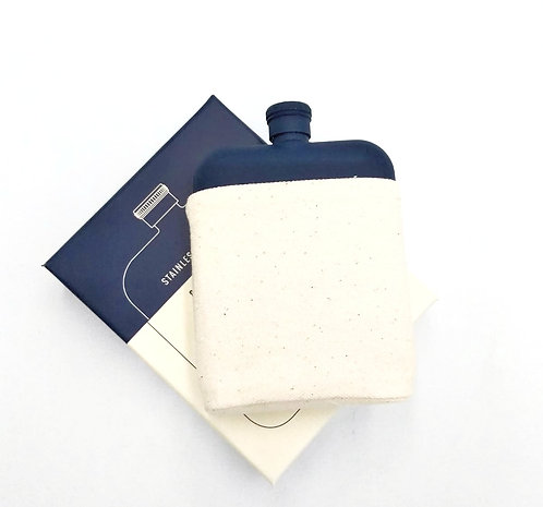 Flask w Canvas Carrier 6oz | Navy