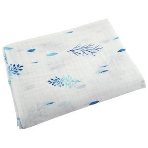 Ponchik | Baby Muslin Wrap | Blue Leaves