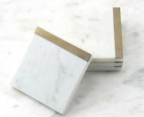 White Marble Coasters with Brass Edge
