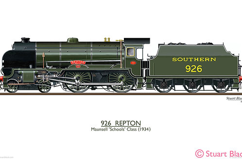 926 'Repton' Locomotive - Art Print