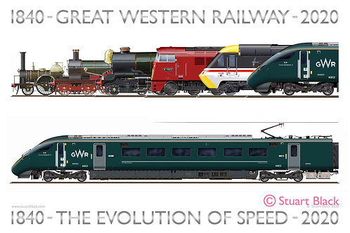 GWR - The Evolution of Speed 1850 - 2020 - Art Print