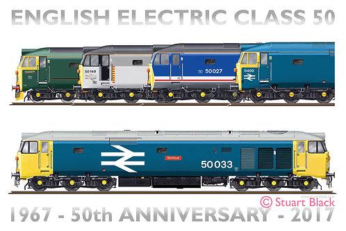 Class 50 Locomotives 50th Anniversary - Art Print