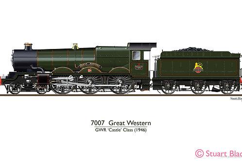 7007 'Great Western' Locomotive - Art Print