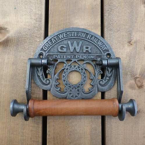 GWR Antique Iron & Wood - Toilet Roll Holder