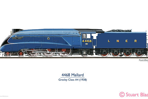 4468 'Mallard' Locomotive - Art Print