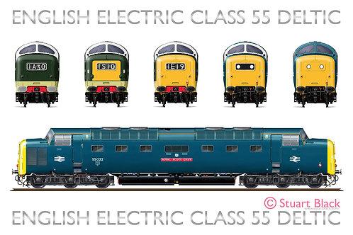 Class 55 Deltic Locomotives Head On - Art Print