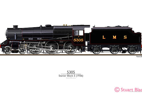 Stanier 'Black 5' 5305 Locomotive - Art Print