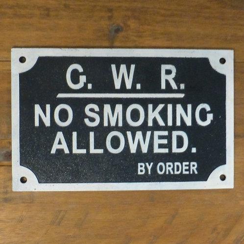 GWR No Smoking Allowed - Cast Iron Plaque