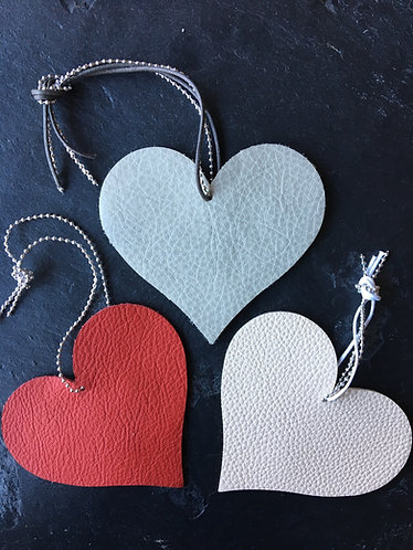 Trio of Leather Heart Decorations