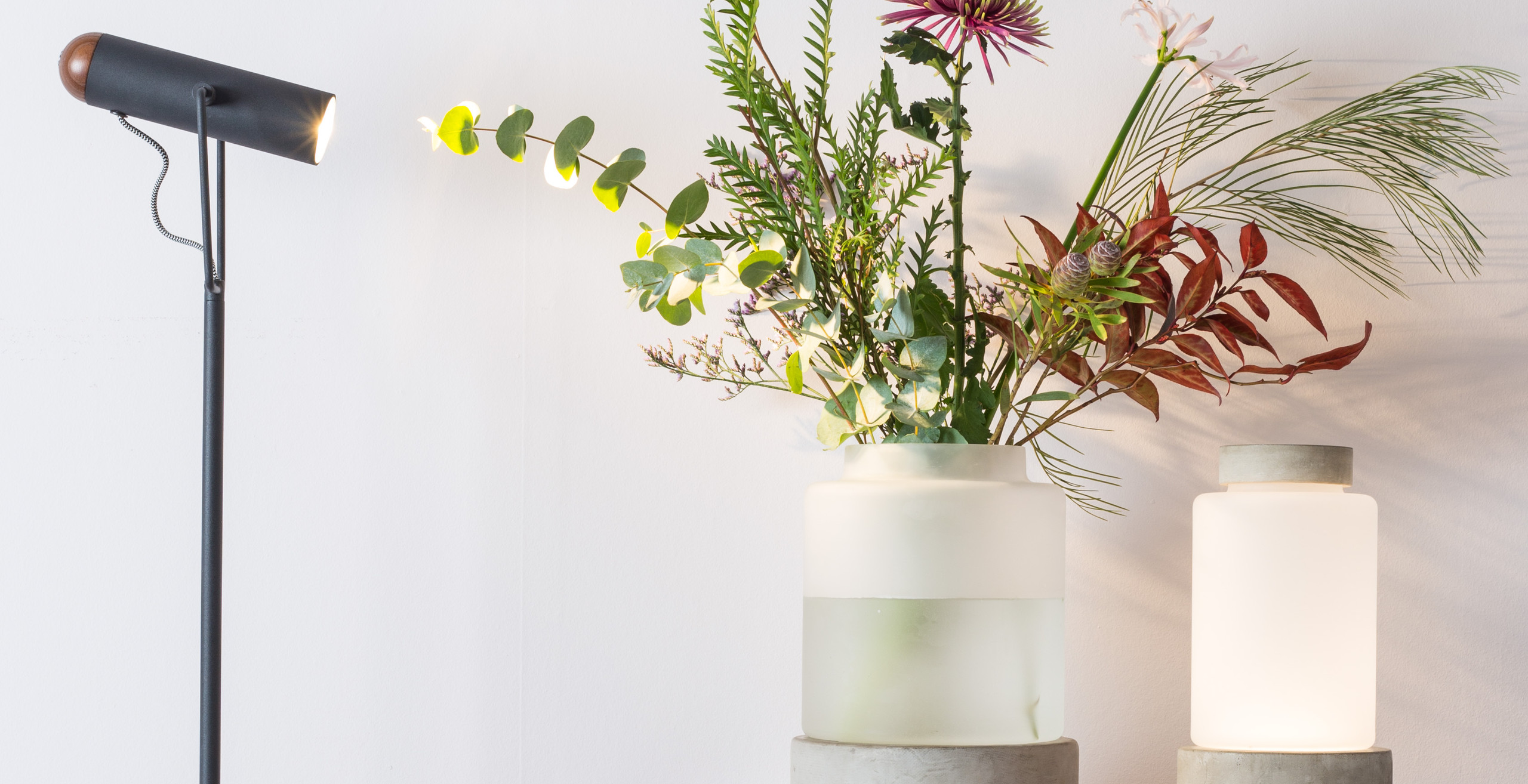 Light and Vase with Flowers