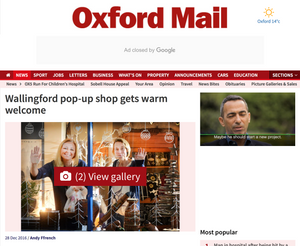 Article Oxford Mail - Wallingford pop-up shop gets warm welcome