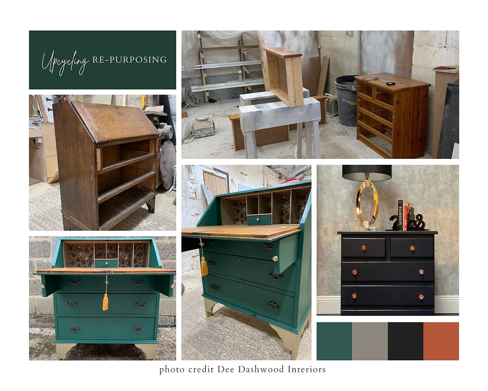 up cycled green desk and up cycled black dresser