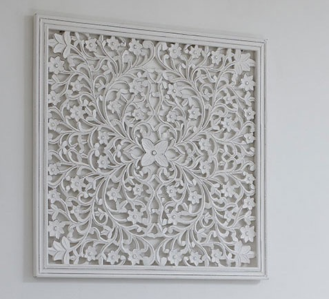 White Hand Carved Wooden Panel