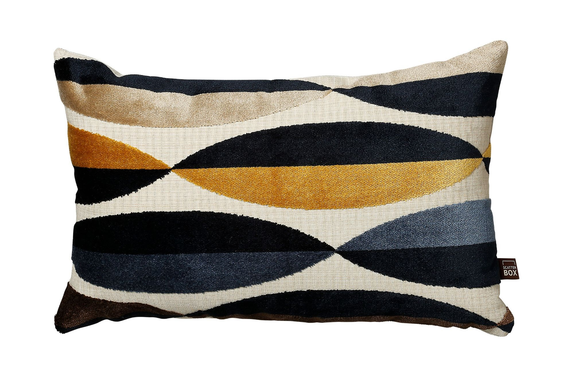 Mustard Yellow and Blue Eclipse Pattern Rectangular Cushion