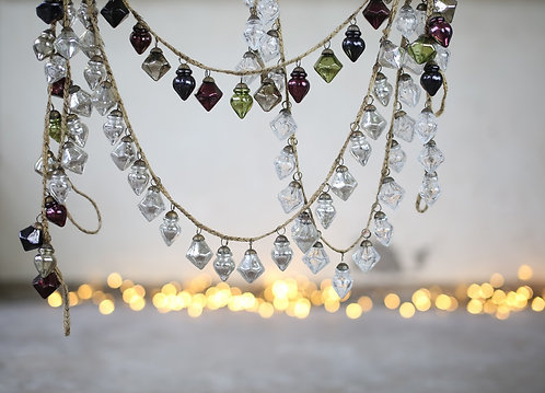 Selection of Glass Bauble Garland with Lights