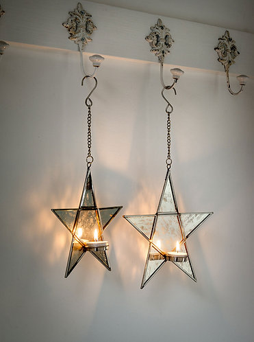 Two Star Hanging Tea Light Holder