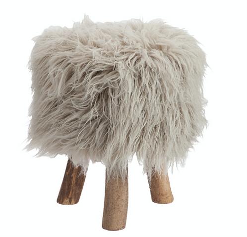 Grey Fleece Round Stool