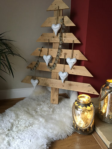 Wooden Christmas Tree on Sheepskin