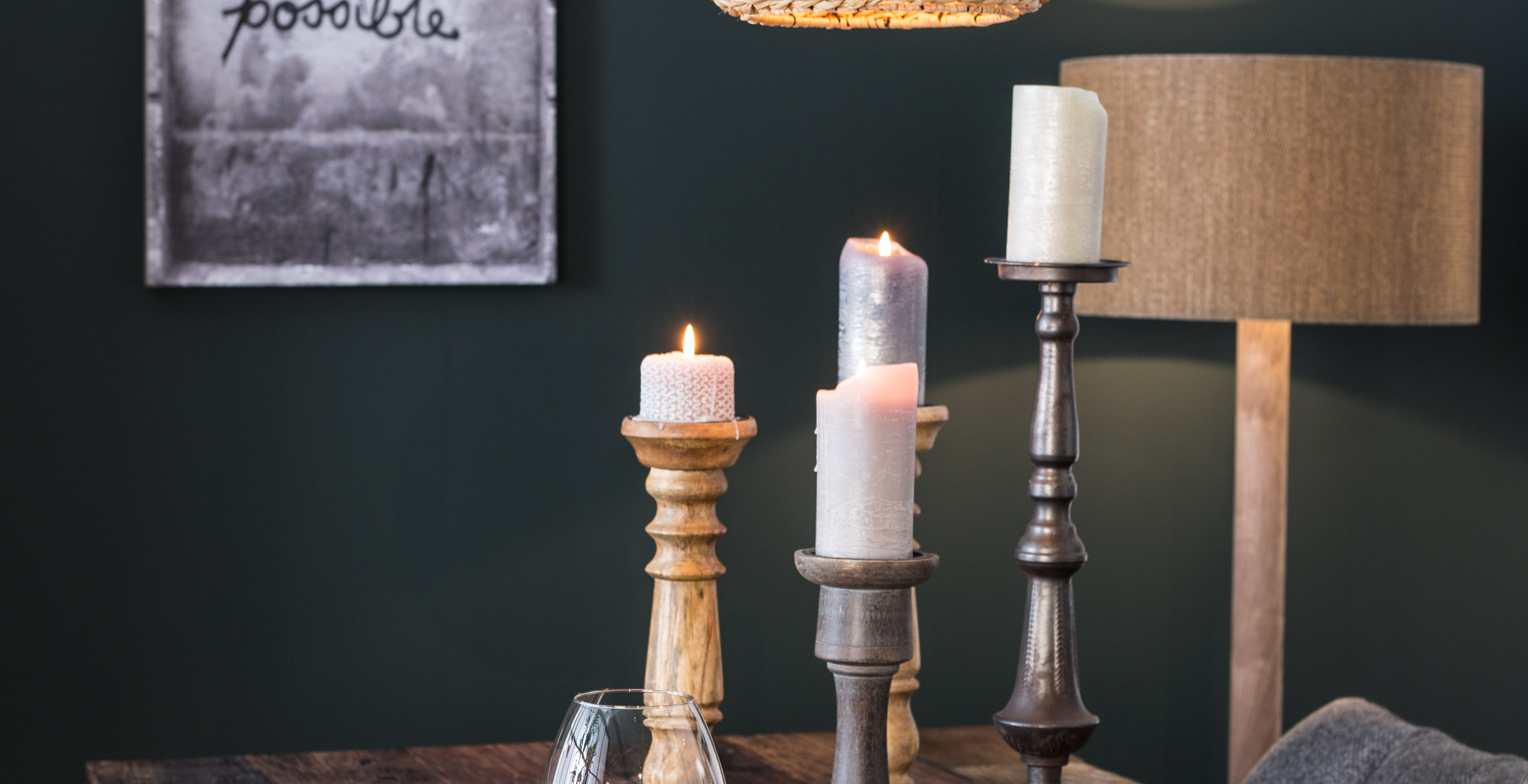 Woven Wood Pendant Lamp with Candle Holders on Table and Wall Hanging Tout sEt Possible