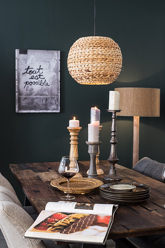 Nana Pendant Lamp above Dining Table with Rustic Candles