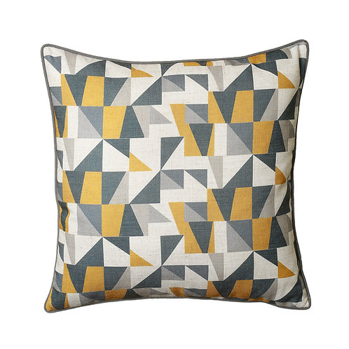 Geometric Design Cushion in Ochre