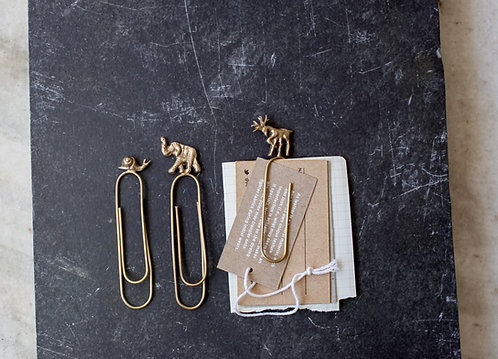 Antique Brass Animal Paperclips