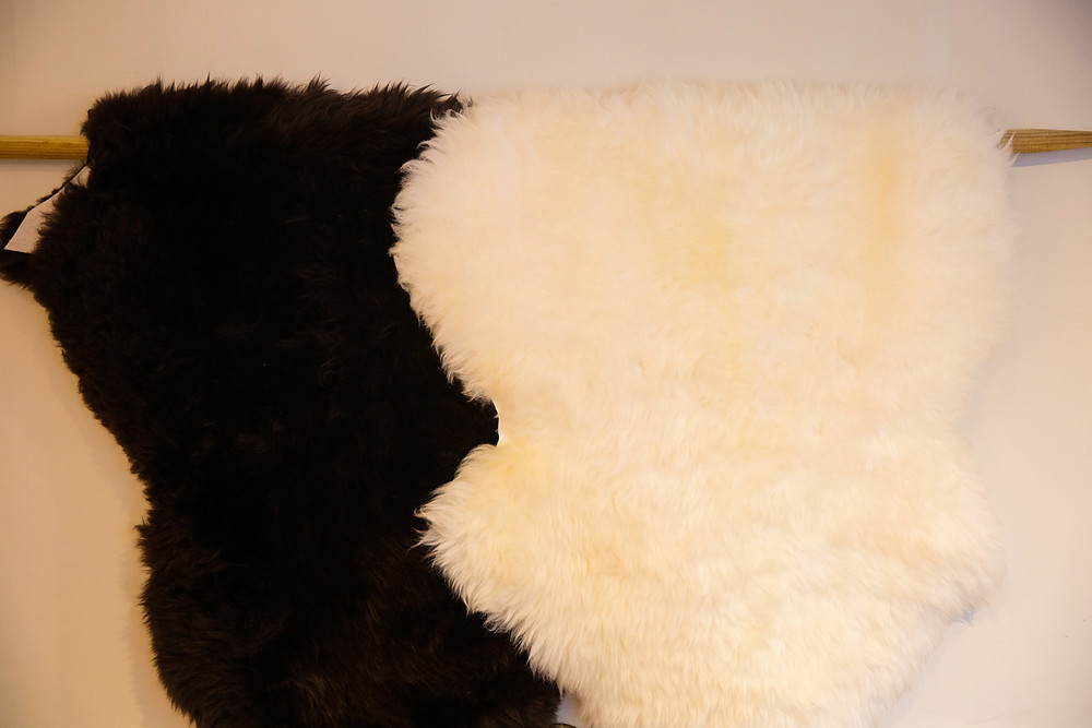 Brown and White/Ivory Sheepskin Rugs