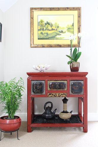 Asian Red Lacquer Console Table