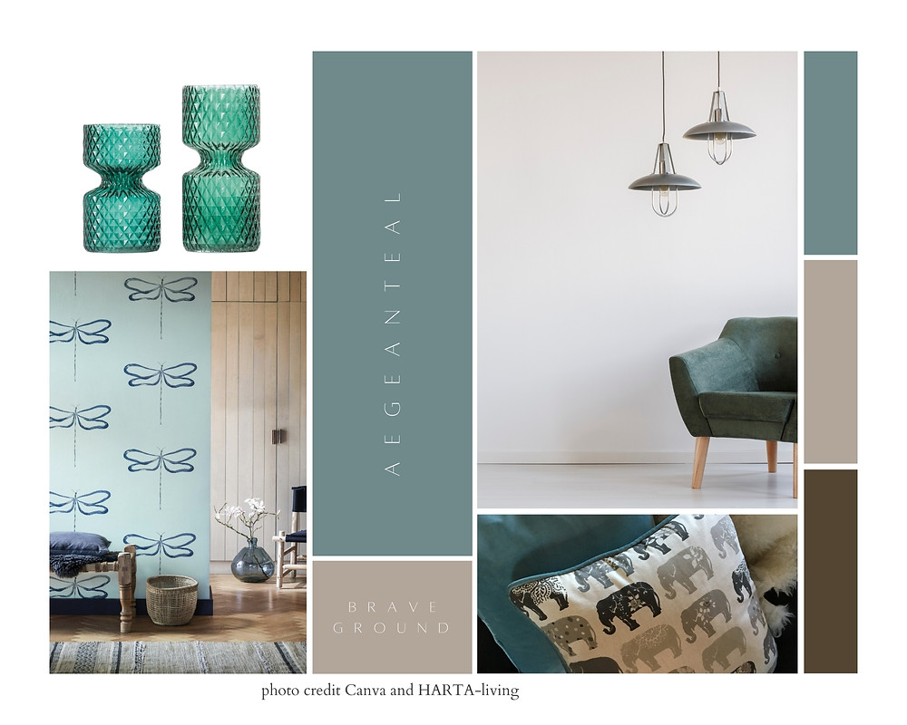 Teal and grey elephant cushion chairs and vases