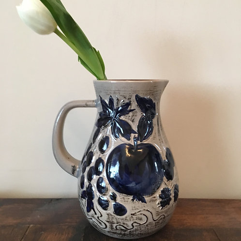 Cobalt Blue and Grey Jug with Tulip