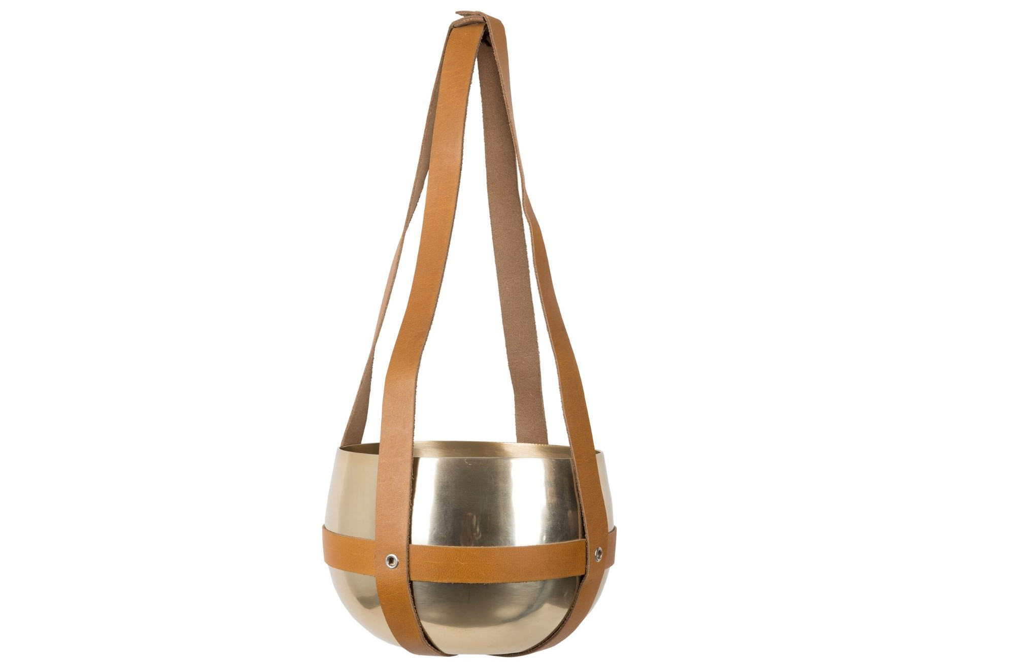 Brass Round Plant Hanger with Leather Strap