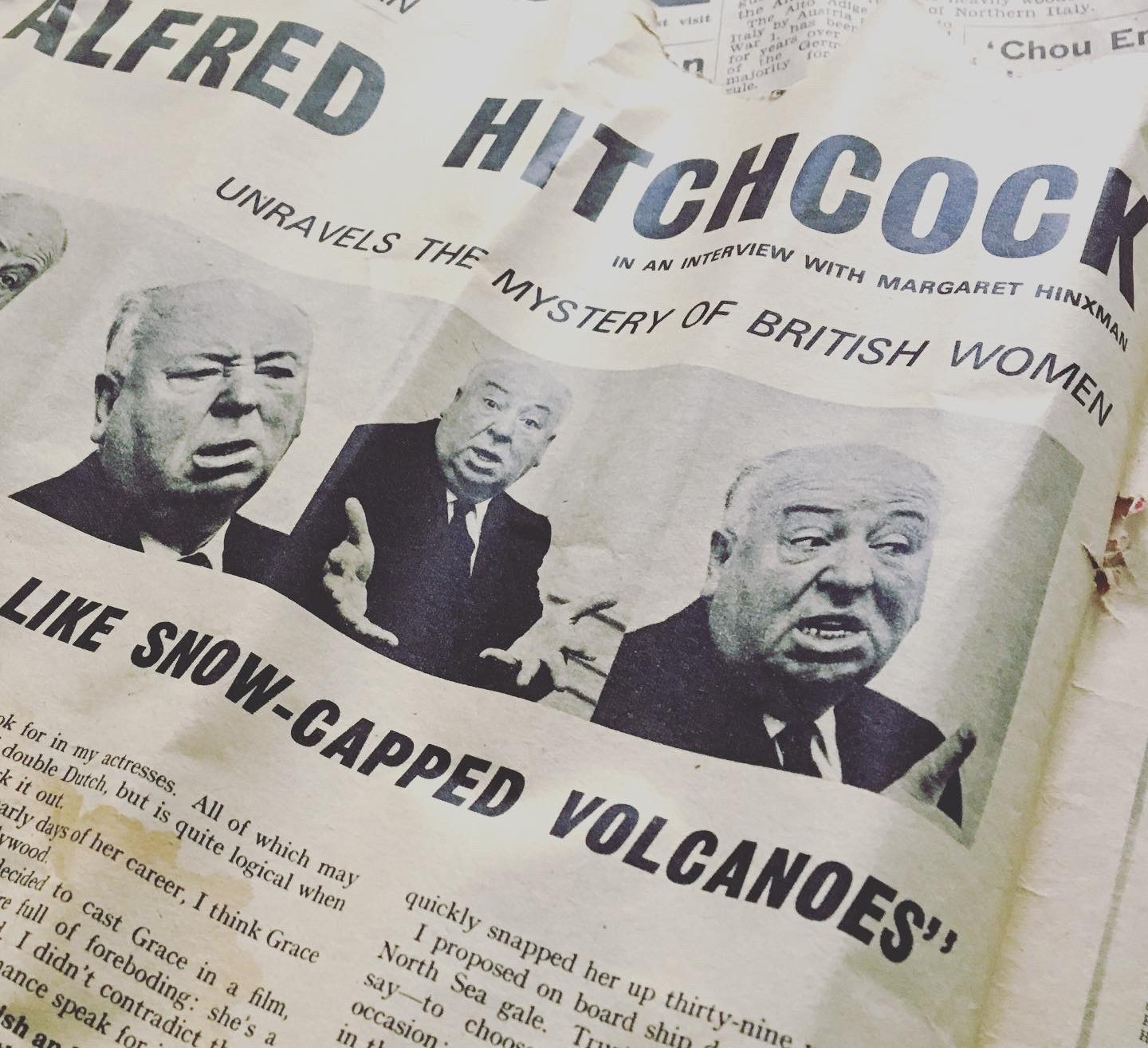 Old Newspaper Alfred Hitchcock