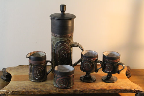 Vintage Briglin Pottery Coffee Set with Abstract Swirl Design