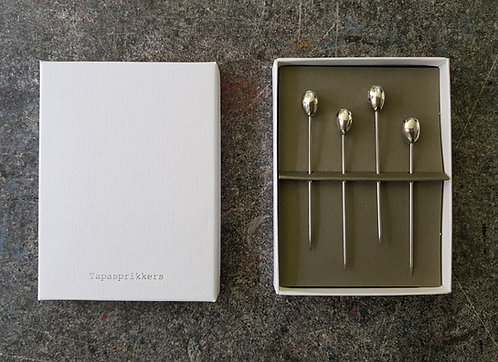 Silver Tin Tapas Sticks in a White Box