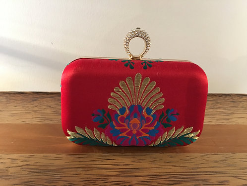 Red Silk Embroidered Evening Bag Front View