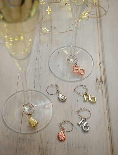 Wine Glasses Charms with Santa Claus Head and HoHoHo